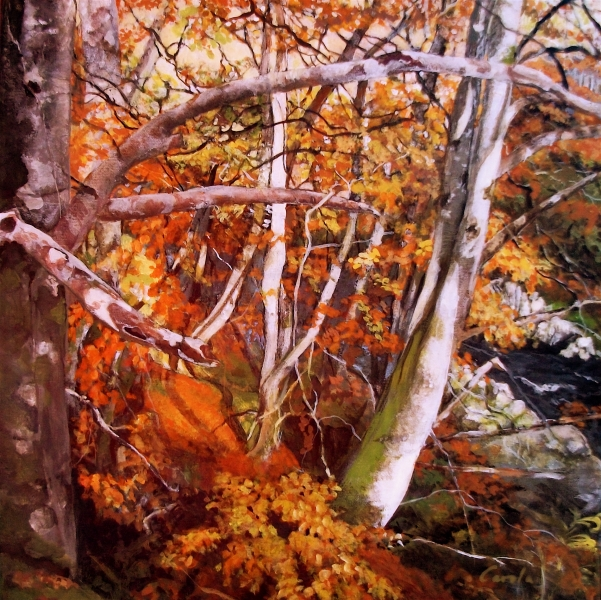 Findhorn River2, oil on canvas, 30 x 30cm, framed, £470